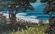 tony ogle is my favourite NZ print artist. Always captures the essence of NZ beach life Nz Art, Art For Art Sake, Amazing Street Art, Amazing Art, New Zealand Art, Art Courses, Unique Wall Art, Surf Art, Naive Art