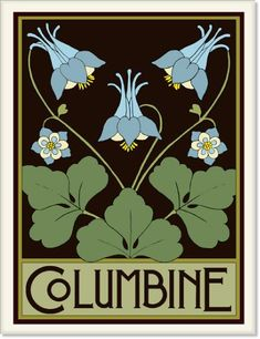 Columbine Tile by Wildflower Graphics Mucha Art Nouveau, Motifs Art Nouveau, Azulejos Art Nouveau, Art Nouveau Flowers, Art Nouveau Tiles, Art Nouveau Design, Art Nouveau Pattern, Graphisches Design, Design Floral