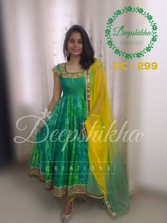 DC - 299For queries kindly inbox orEmail - deepshikhacreations@gmail.com Whatsapp / Call - 919059683293 04 September 2016 06 October 2016 Designer Sarees Wedding, Designer Anarkali Dresses, Designer Dresses, Long Gown Dress, Frock Dress, Long Frock, Kalamkari Dresses, Ikkat Dresses, Latest Salwar Kameez Designs