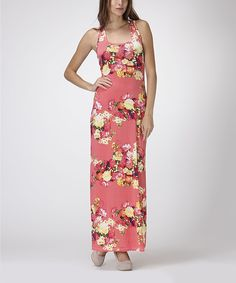 Look at this #zulilyfind! BOLD & BEAUTIFUL Coral & Yellow Floral Maxi Dress by BOLD & BEAUTIFUL #zulilyfinds