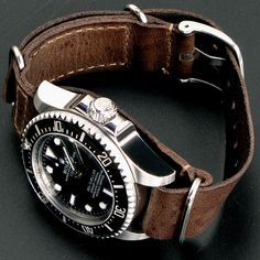 Rolex Sea-Dweller Deepsea x Leather Nato Gunny Straps. http://www.annabelchaffer.com/categories/Gentlemen/