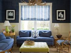 Navy grass cloth family room in East Hampton - Meg Braff Interiors