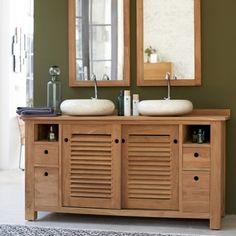 Badmöbel Waschtisch Waschbeckenunterschrank massiv Holz Möbel neu ... | {Doppelwaschtisch holz kaufen 84}