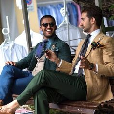 A chat between two Dapper Gents is always worth listening 💬 Urban Clothing Brands, Expensive Suits, Gq Style, Male Style, Dapper Gentleman, Elegant Man, Designer Clothes For Men, Mens Fashion Suits, Suit And Tie