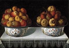 Tomás Hiepes, Two bowls of fruit on a table, Prado Madrid, Urban Graffiti, Fruit Dishes, Fruit Bowls, Fruit Painting, Eat To Live, Australian Art, Autumn Inspiration, Flower Vases