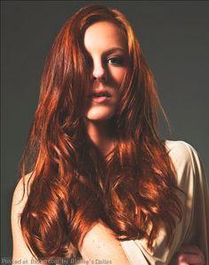 Gorgeous auburn hair color by Baline's Dallas.