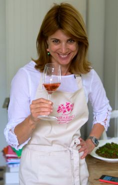 Jeany with her favourite tipple, a glass of Mirabeau Provence Pink. Good mood in a glass..