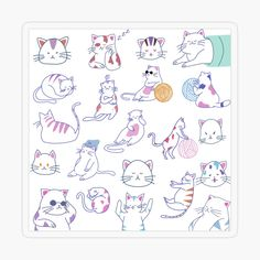 'Meowy Cats' Sticker by EllenBeb Plastic Stickers, Cat Stickers, Free Stickers, Funny Poses, Personalized Water Bottles, Transparent Stickers, Sticker Design, Cat Lovers, Kitten