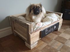 """Pallet Pet Beds...this one has a black board sign for the dogs name..and the picture has the dog in it too!pinned to """"It's a Pallet Jack"""" by Pamela"""