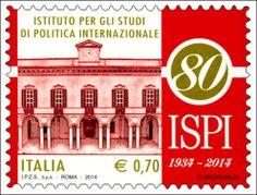 Francobollo celebrativo dell'Istituto per gli studi di politica internazionale, nell'80° anniversario della fondazione.