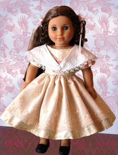 """Promenade 1850s Sewing Pattern by Dollhouse Designs for 18"""" American Girl Doll Victorian Dress & Shawl. Via Etsy."""