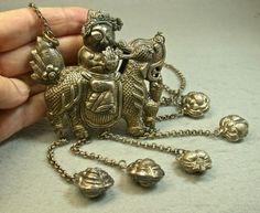 ANTIQUE Chinese Qing Dynasty SILVER Kylin Figure Bells NECKLACE CS7 | EurekaEureka - Antiques on ArtFire