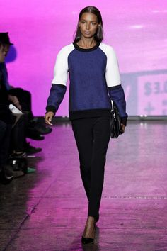 Cobalt Blue, Black and White Color-block Sweater at DKNY Fall 2013 #fashion
