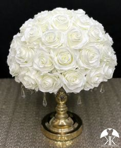 IVORY Rose Arrangement made with PREMIUM Real Touch Silk Roses. IVORY Wedding Centerpiece. Quinceaera. Sweet 16. Bridal Shower. PICK ROSE COLOR! 14 SIZE PICTURED.  GOLD STAND With CRYSTALS Sold Separately Flower Ball Centerpiece, Red Centerpieces, Mickey Centerpiece, Crown Centerpiece, Silver Centerpiece, Ivory Wedding, Peacock Wedding, Yellow Wedding, Luxury Wedding