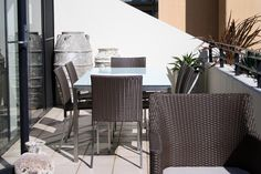 Modern outdoor furniture combines beautifully with Atlantis feature pots