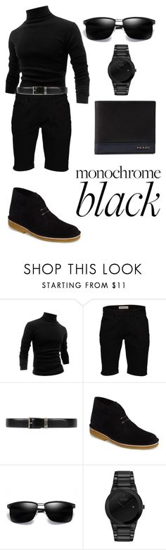 """""""Untitled #2535"""" by nadia-n-pow on Polyvore featuring Allegra K, Element, Gucci, Clarks, Citizen, Prada, men's fashion, menswear and allblack"""