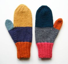 "Color-block mittens.  Cute & fun and super easy.  Great use for the ""good"" leftover yarn from other projects.  Would not be as nice with less than premium yarn."