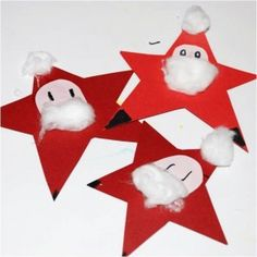 Super cute little Santa Stars.  Perfect and fun for young kids! via www.redtedart.com