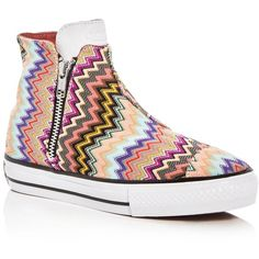 Converse Missoni Collection Chuck Taylor All Star High Line Mid Top (€84) ❤ liked on Polyvore featuring shoes, sneakers, multi, zig zag sneakers, zig zag footwear, sports footwear, star sneakers and converse footwear