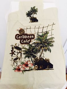 "CARIBBEAN CAFE - 18"" x 25"" Upcycle Recycle Remnant of a discarded Beach shirt #I Need $$ #Please Bid Now"