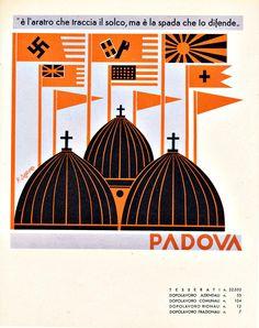 Fortunato Depero, Province Italiane, Padova, 1938 Cd Project, Futurism Art, Art Deco Illustration, Vintage Typography, Old Ads, Aviation Art, Advertising Poster, Vintage Travel Posters, Military Art