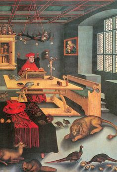 """Albrecht of Brandenburg as St. Jerome in his study""  Lucas Cranach the Elder [Light fixture in the infinite symbolism of the Heavens/Firmament, the equivalent symbol for the suit and galero hat laid out in the foreground and Firmament/Heaven pattern in the ceiling. Suit flanked by two solar symbols the lion and the deer]"