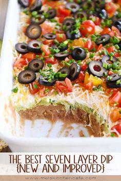 Appetizer Dips, Appetizer Recipes, Savoury Recipes, Guacamole, Peach Frozen Yogurt, Seven Layer Dip, 7 Layer Mexican Dip, 7 Layer Taco Dip, Mexican Dips