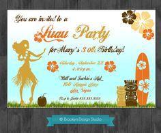 Hawaiian Luau Party/Birthday Party Custom Designed Invitation - Orange,Yellow, Brown, Pink - Digital File