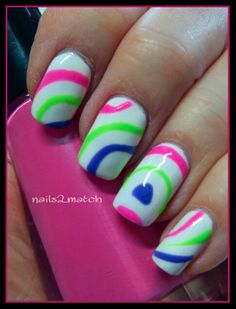 Gelish Hot Summer Colors with nail stencils. Bikini perfect!
