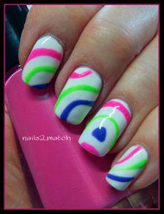 Gelish Hot Summer Colors with nail stencils. Bikini perfect!