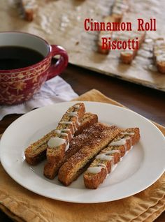 Low Carb Cinnamon Roll Biscotti Recipe | All Day I Dream About Food  (These #GlutenFree and #LowCarb biscotti sound delicious!)
