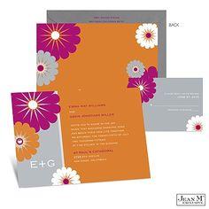 Mod Blossoms Wedding Invitation - Poppy