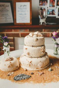 Shells Sand Cake DIY Seaside Inspired Farm Wedding http://benjaminstuart.co.uk/