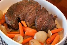 Balsamic Pot Roast with Carrots and Onions from Our Family Eats.  Gluten free and dairy free.