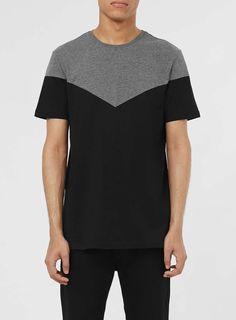 Grey and Black Chevron T-Shirt - Topman