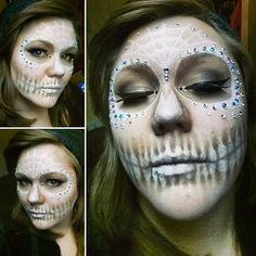 Happy Halloween!!!  #makeup #halloween #sugarskull #jeweled #gemmakeup #whitesugarskull #whiteandbrown #fakelashes #original