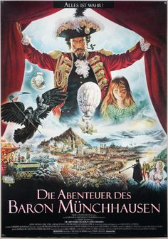 "The Adventures Of Baron Munchausen / A1 / Germany - 1988, Designer: Renato Casaro, Artist: Renato Casaro, Size (inches)23 4/16"" x 33"""