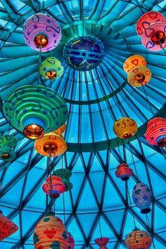 colorful. blue. chinese lanterns