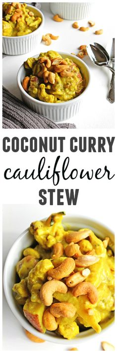 Coconut curry cauliflower stew with potatoes and cashews recipe! A warm and comforting vegan stew packed with flavor and ready in under an hour! Vegan, gluten free, paleo, delicious.