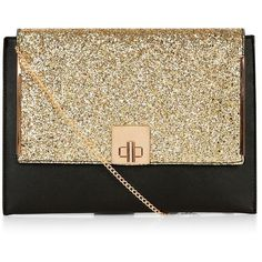 Gold Glitter Panel Clutch ($15) ❤ liked on Polyvore featuring bags, handbags, clutches, gold, gold glitter handbag, gold purse, gold clutches, chain strap purse and glitter clutches