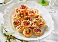 Roast tomato, goat's cheese and caramelised onion quiches