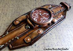 Vintage brown Leather Cuff Leather Watch by CuckooNestArtStudio, $135.00