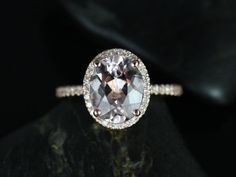 Jessica Original Size 14kt Rose Gold Thin Oval Morganite Halo Engagement Ring (Other metals and stone options available)