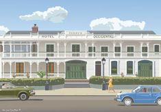 Weatherboard two storied hotel with double verandas, Perry's Occidental Hotel print by Contour Creative Studio for sale at New Zealand's art print specialists. Occidental Hotel, New Zealand Art, Hereford, Detail Art, New Print, Print Store, Creative Studio, Contour, Facade