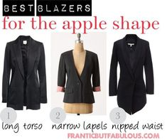 If your shoulders are wider than your hips, here's how to buy the best blazers to flatter your apple body shape. #clothesthatflatteryourbodyshape