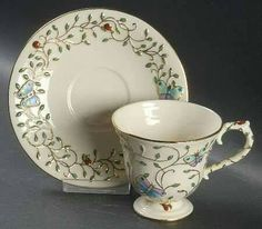 Footed Cup & Saucer Set in Summer Enchantment by Lenox ~ Raised Beetles, Butterflies, Vine Cup And Saucer Set, Tea Cup Saucer, Cocoa Cake, Café Chocolate, Cuppa Tea, China Tea Cups, Tea Service, My Cup Of Tea, Coffee Set