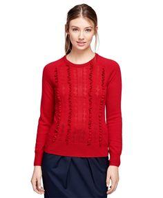 Merino Wool Ruffle SweaterRed