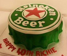 Heineken bottle cap cake