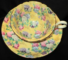 SHELLEY SUMMER GLORY CHINTZ CHESTER TEA CUP AND SAUCER PEACH