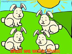 Sleeping Bunnies by Myvoxsongs. Toddlers love this song~  :)  This is a cute action song... good for getting those wiggles out!